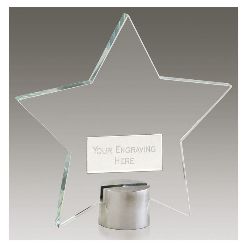 6 Inch Simple Transparent Star Shining Star Award