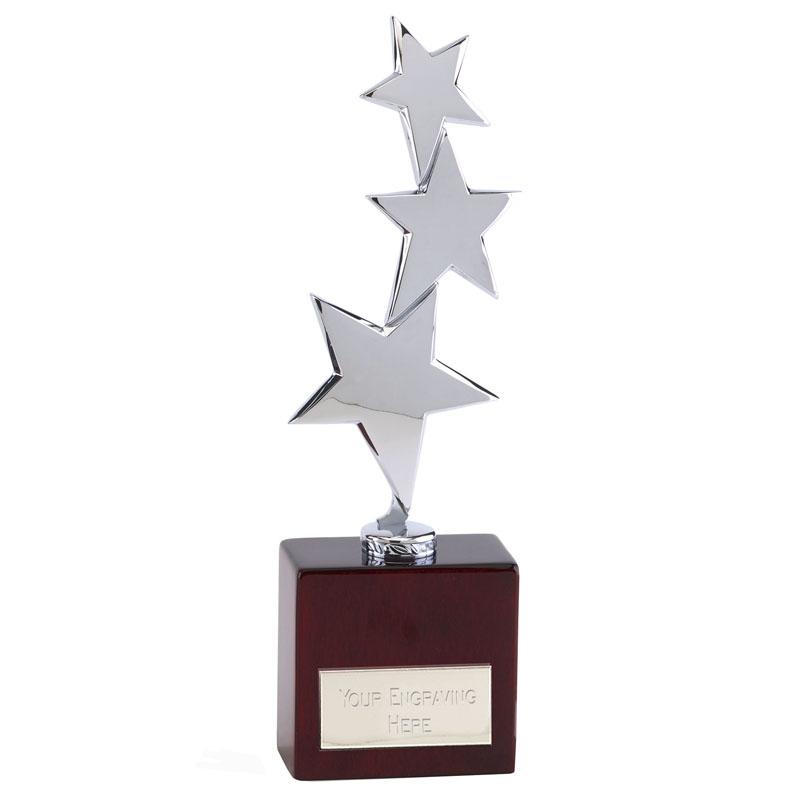 12 Inch Triple Star & Piano Wood Base Starstruck Star Award