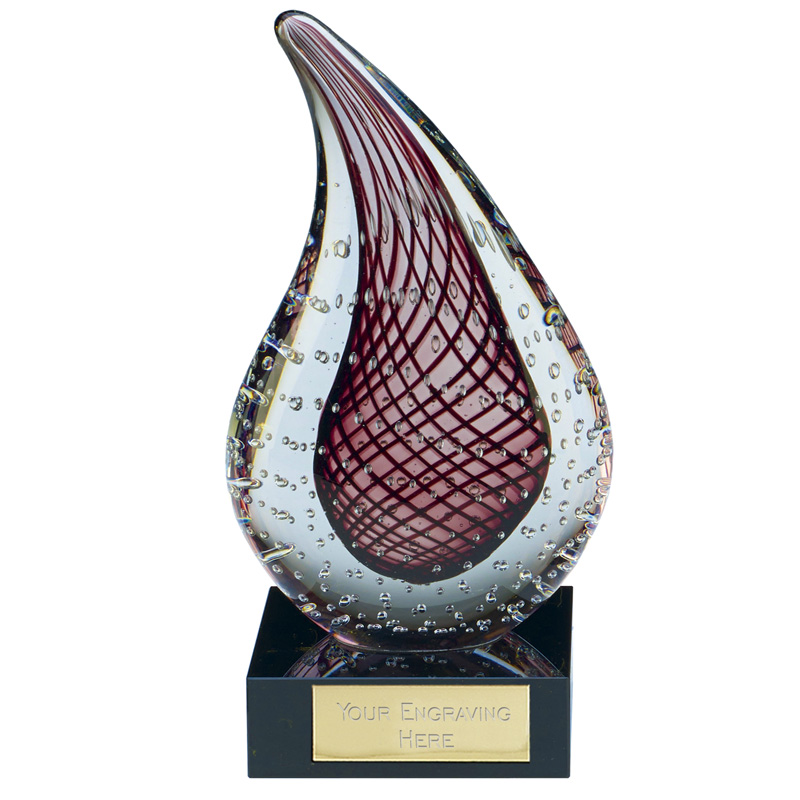 8 Inch Red Droplet Muse Artistic Glass Award