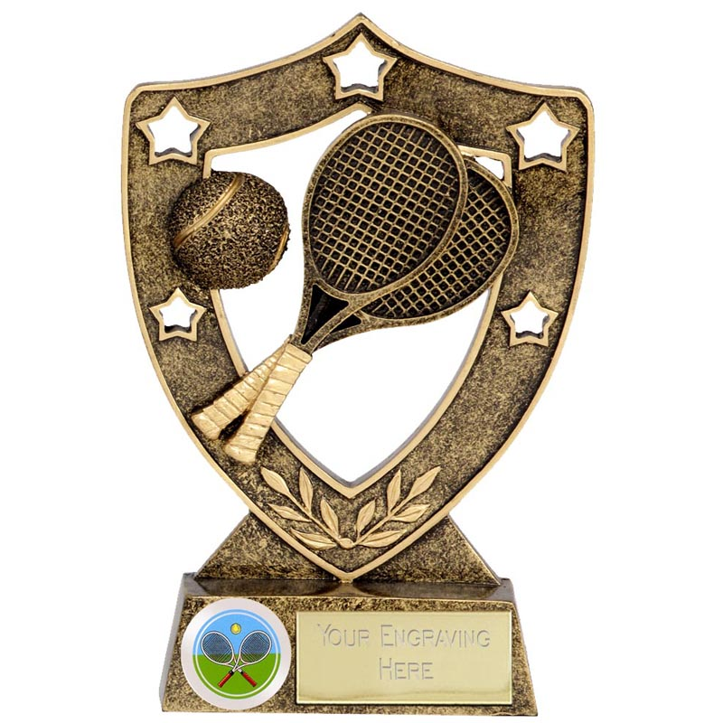 Crossed Rackets & Ball Tennis Shieldstar Shield Award