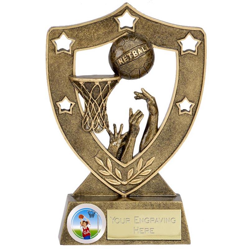 6 Inch Shot on Net Netball Shieldstar Shield Award