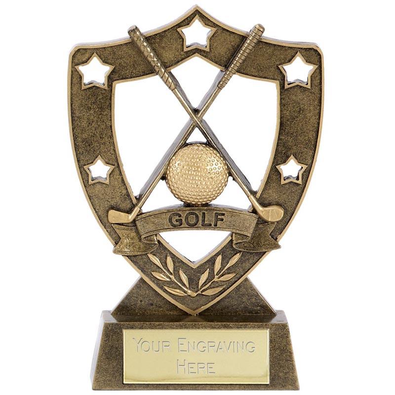 5 Inch Crossed Glubs & Ball Golf Shieldstar Award