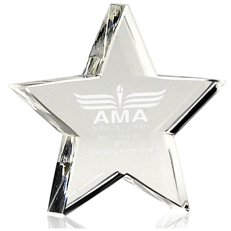 4 Inch Ice Star Crystal Paperweight Award