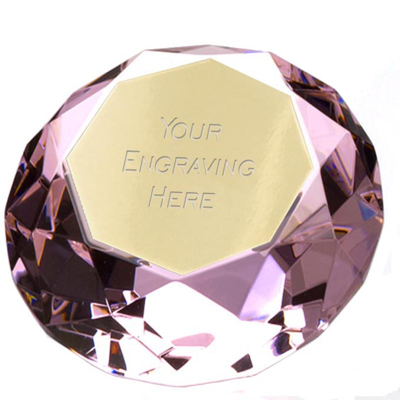 8cm Clarity Light Pink Diamond Award