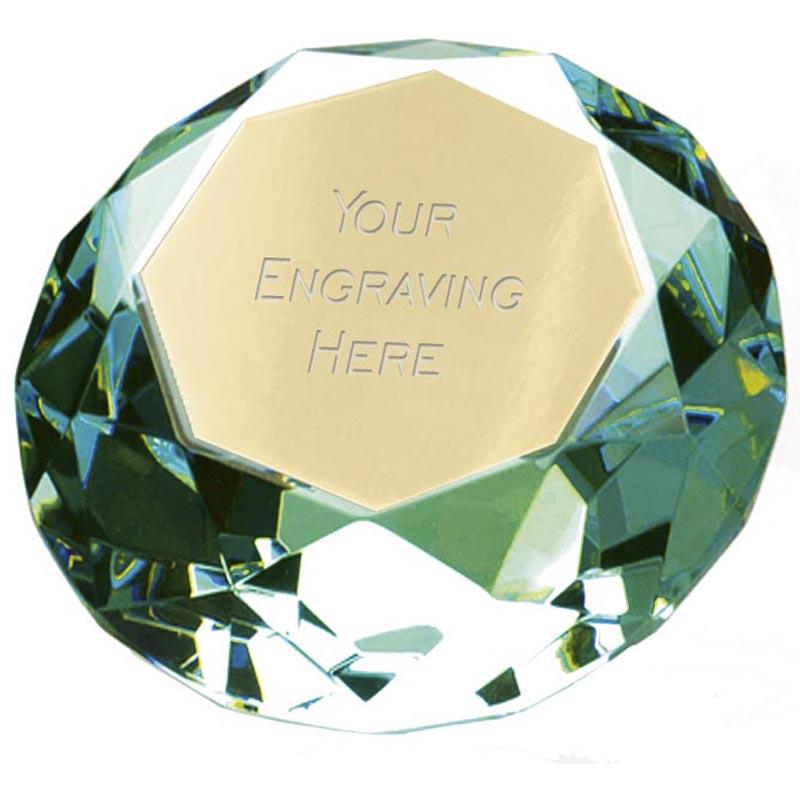 8cm Green Diamond Clarity Glass Award