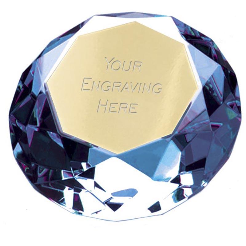 8cm Blue Diamond Clarity Glass Award
