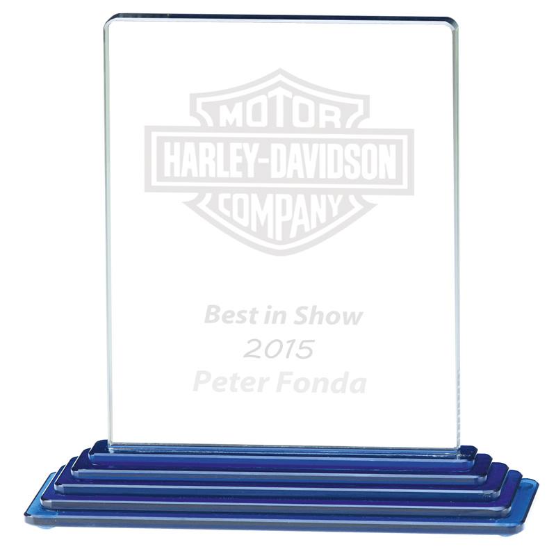 8 Inch Blue Stairway Base Atlantis Glass Award