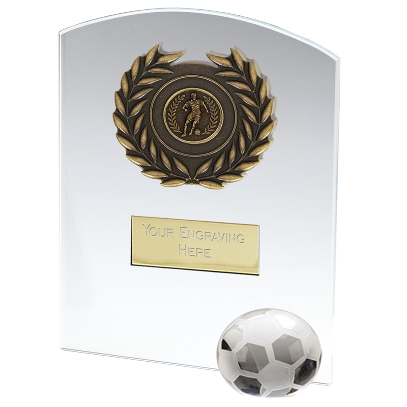 10 Inch Free Standing Football Strike Glass Award