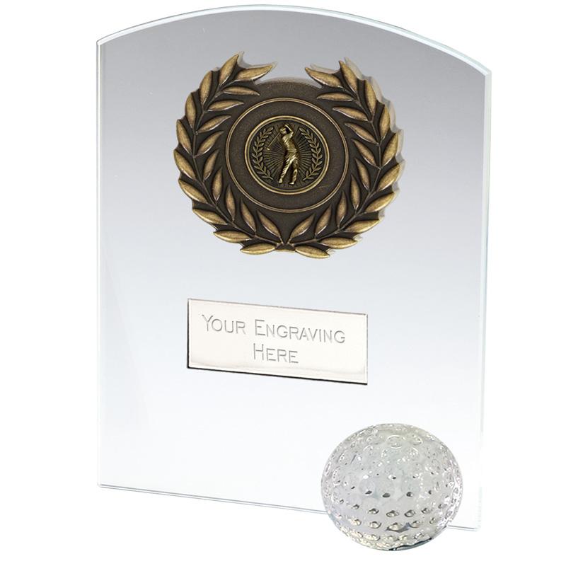 5 Inch Ball & Wreath Inlay Golf Strike Jade Glass Award