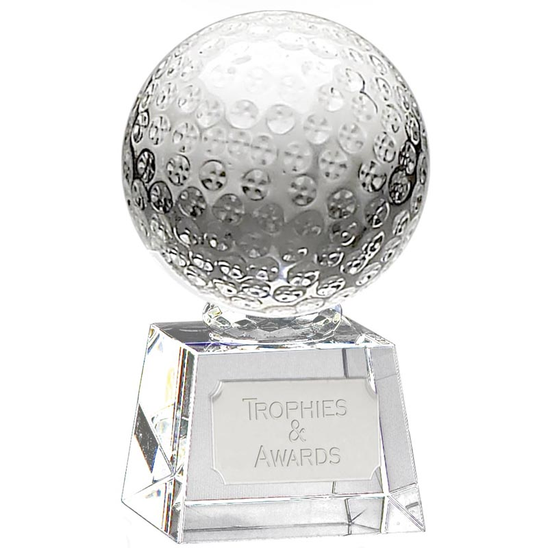 5 Inch Detailed Ball Golf Victory Optical Crystal Award