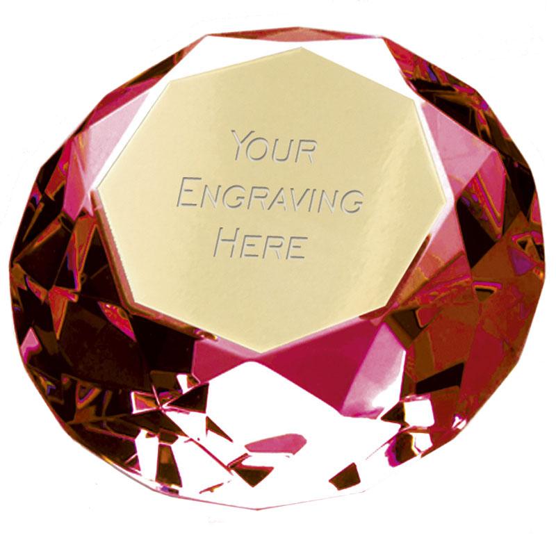 8cm Red Diamond Clarity Glass Award