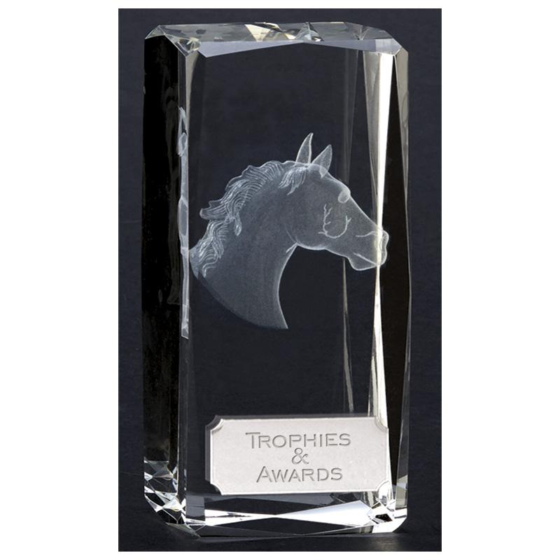 5 Inch Horse Head Block Clarity Optical Crystal