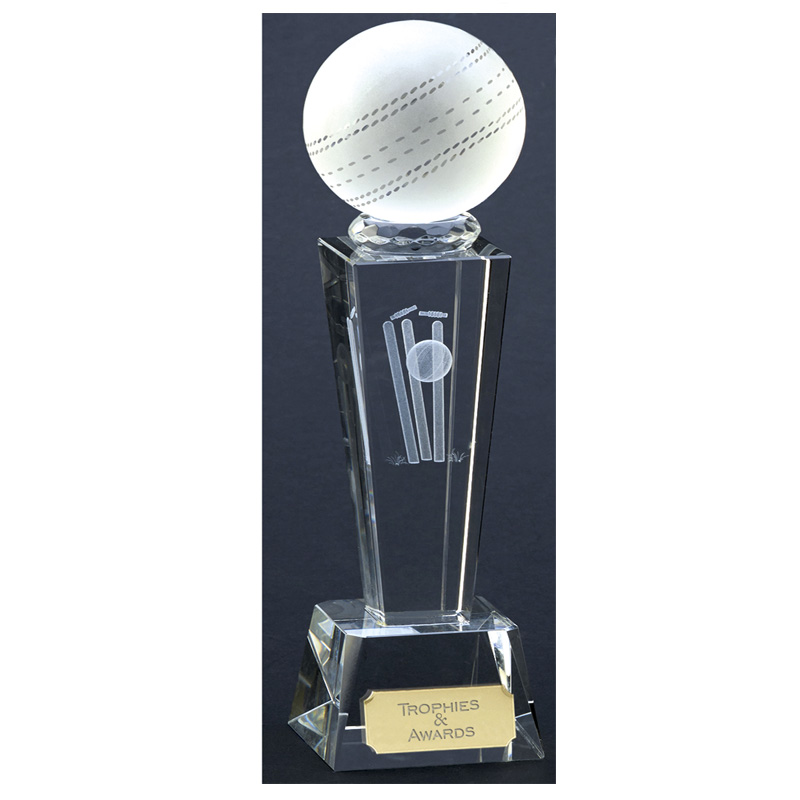 9 Inch Lasered Ball & Wicket Cricket Unite Crystal Award