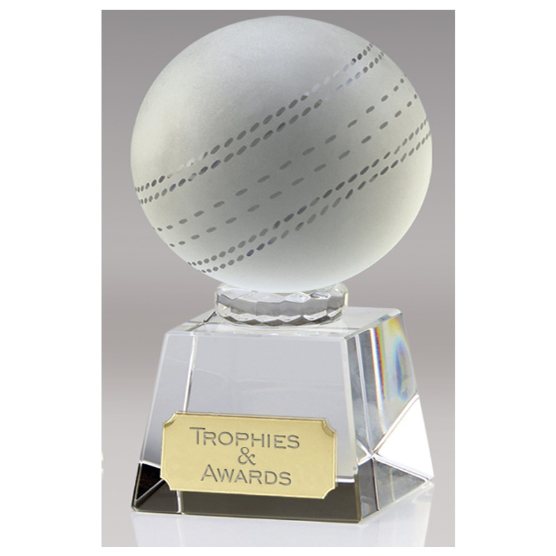 4 Inch Laser Detailed Ball Cricket Victory Crystal Award