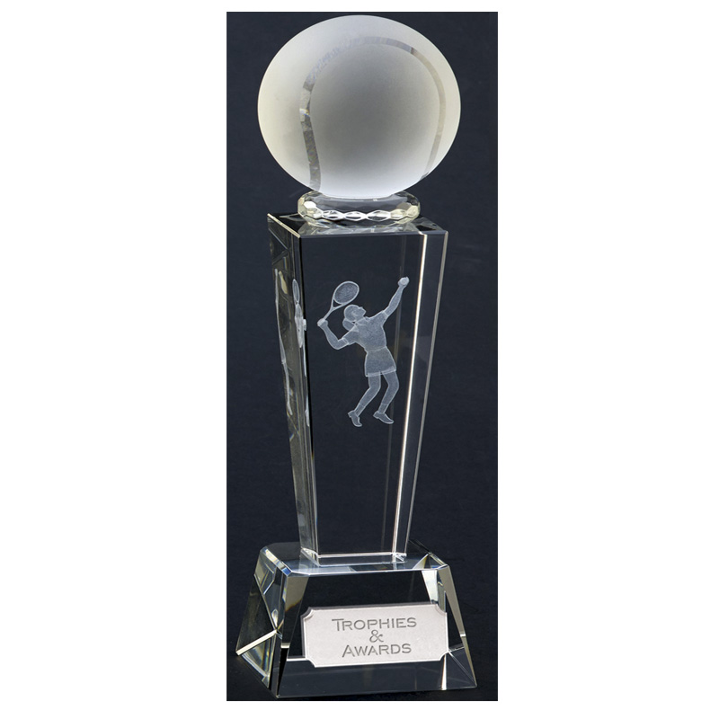Lasered Player Tennis Unite Crystal Award
