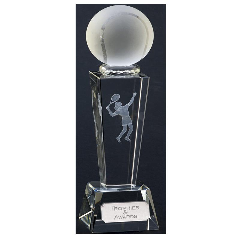 9 Inch Lasered Player Tennis Unite Crystal Award
