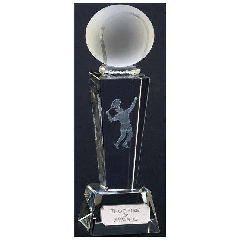 9 Inch Lasered Player Tennis Unite Crystal Award