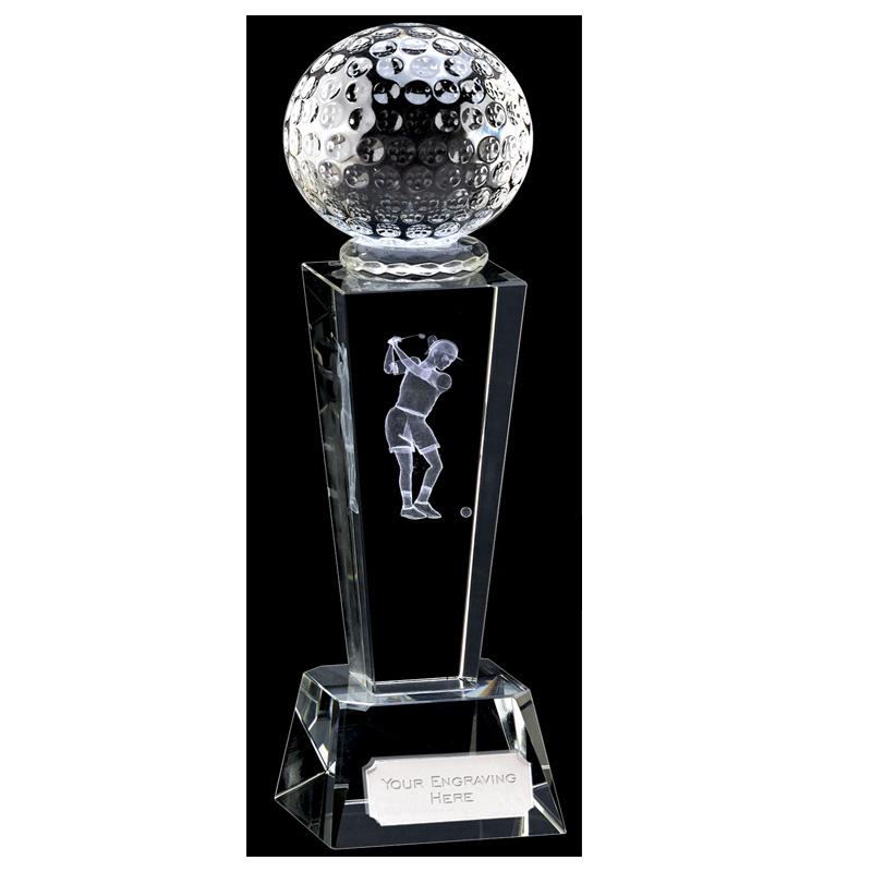 9 Inch Lasered Swing Inlay Golf Unite Optical Crystal Award