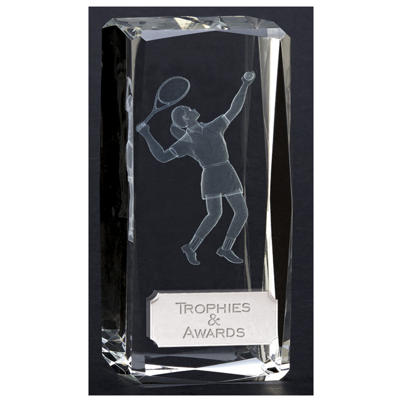 5 Inch Lasered Player Tennis Clarity Crystal Award