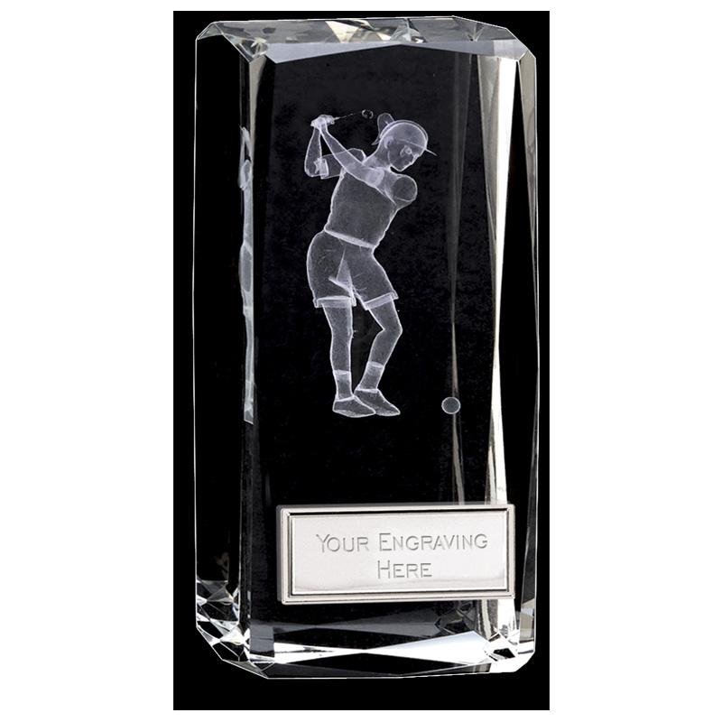 5 Inch Lasered Swing Inlay Golf Clarity Crystal Award