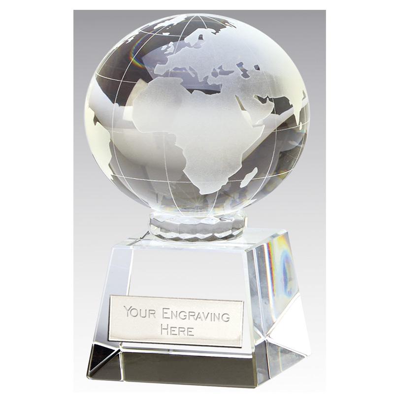 4 Inch Optical Victory Globe Crystal Award