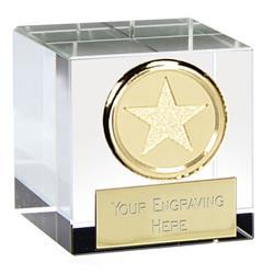 2 Inch Gold Star Block Merit Optical Crystal Award