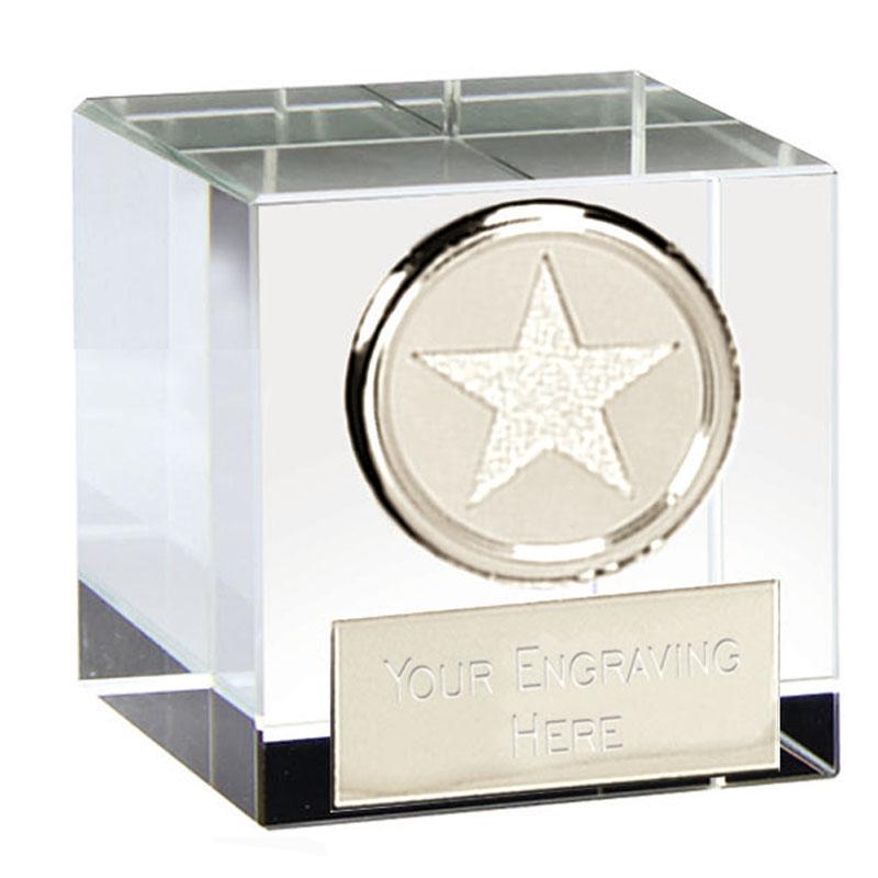 2 Inch Silver Star Block Merit Optical Crystal Award