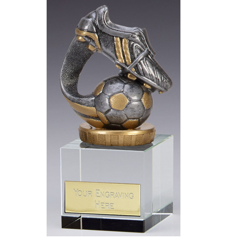 12cm Boot & Ball Wave Figure on Football Merit Award