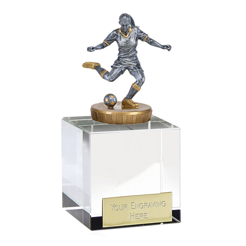 12cm Footballer Female Figure on Football Merit Award