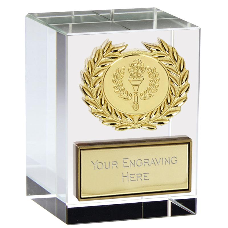 3 Inch Gold Star Block Merit Crystal Award