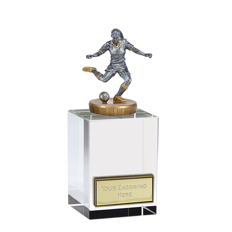 16cm Footballer Female Figure on Football Merit Award