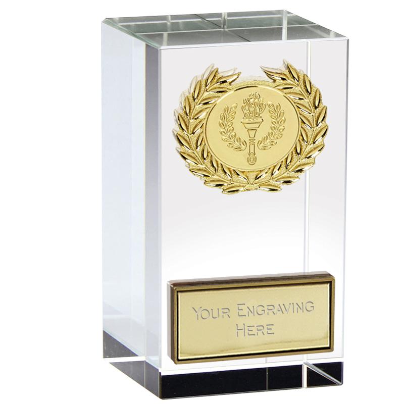 4 Inch Gold Star Block Merit Crystal Award