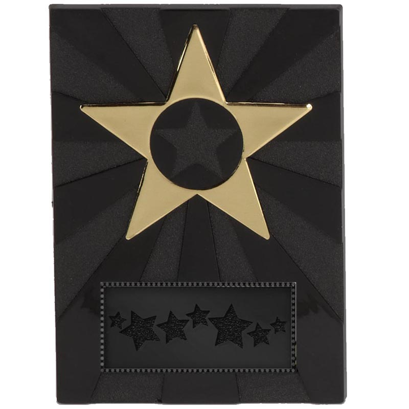 4 Inch Black Apex Star Plaque Award