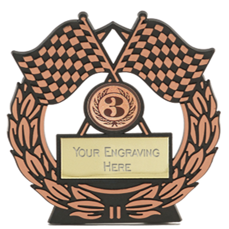 5 Inch Bronze Chequered Flags Motorsports Mega Award