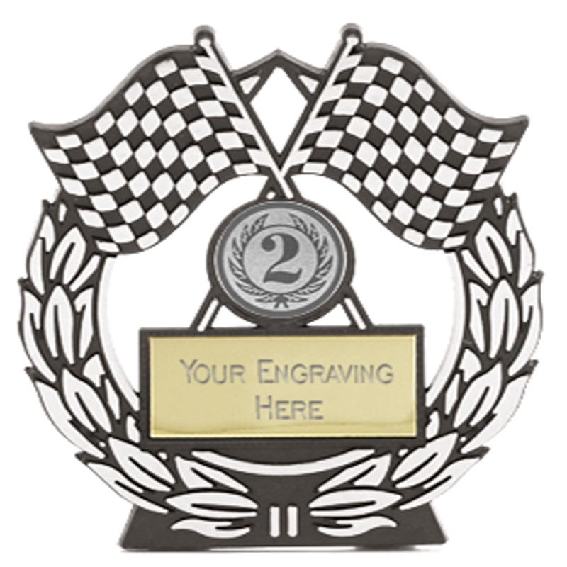 5 Inch Silver Chequered Flags Motorsports Mega Award