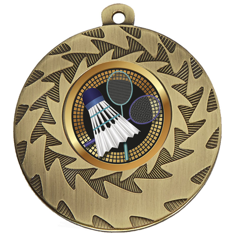 50mm Gold Shuttlecock Badminton Prism Medal