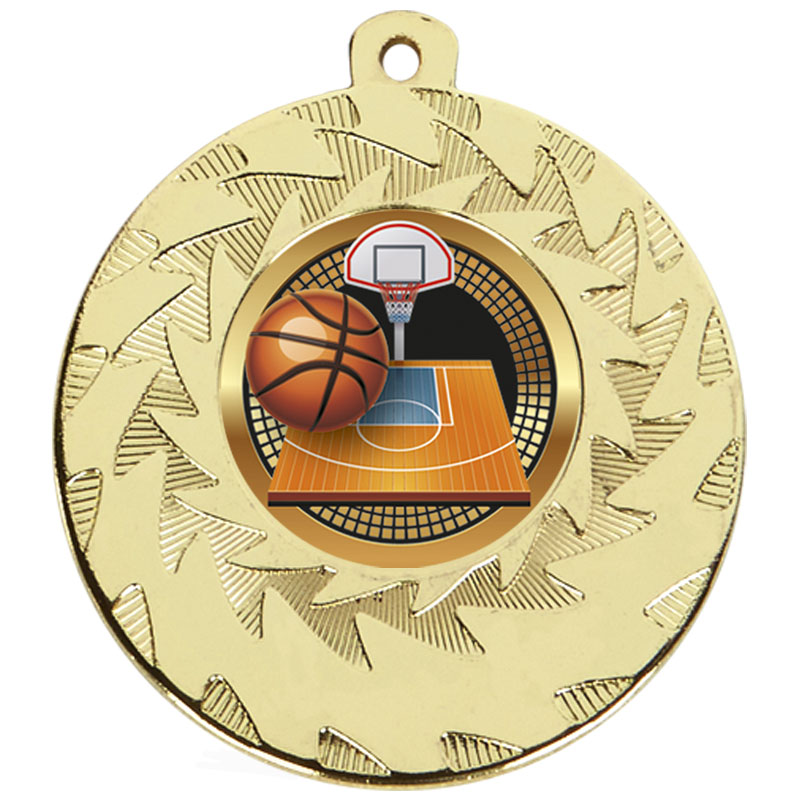 50mm Gold Ball & Court Basketball Prism Medal
