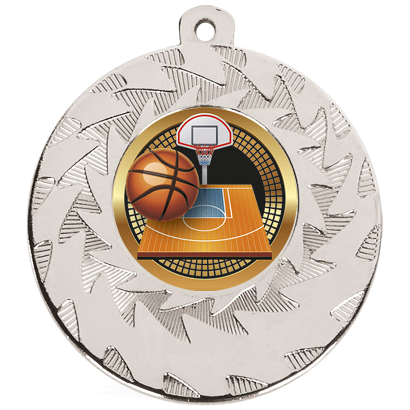 50mm Silver Ball & Court Basketball Prism Medal
