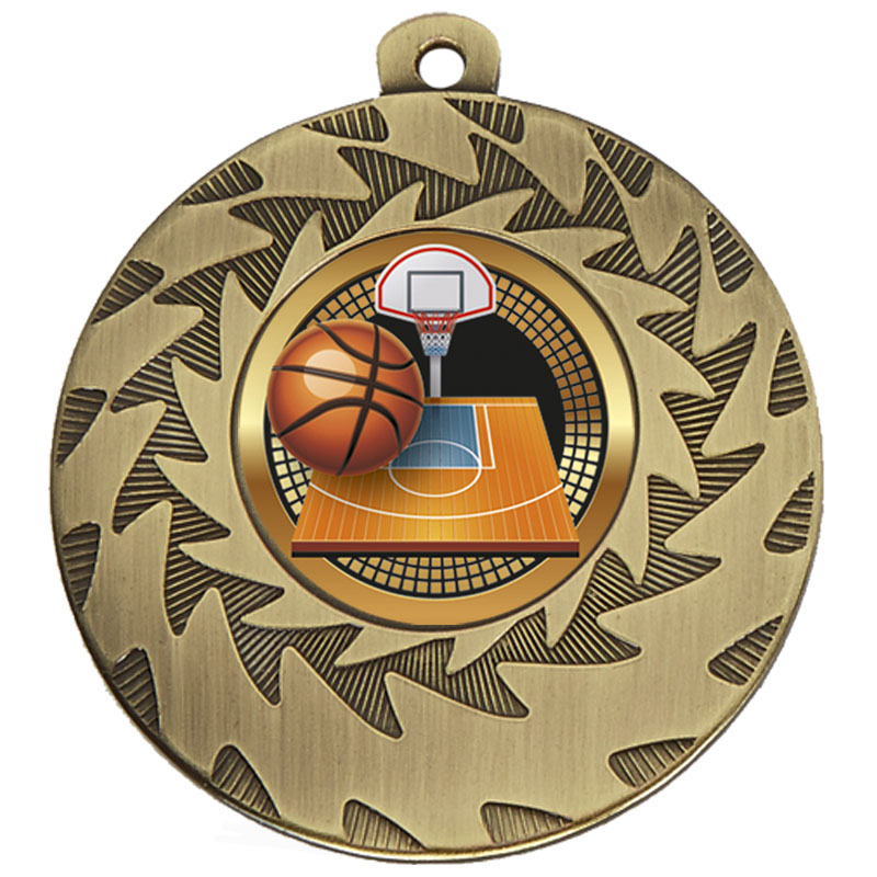 50mm Bronze Ball & Court Basketball Prism Medal