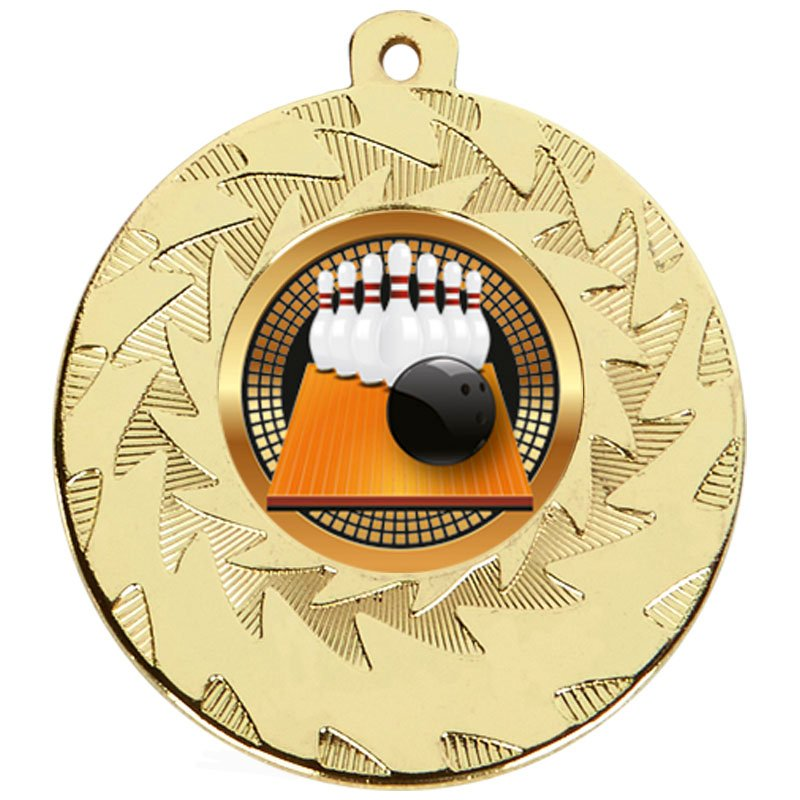 50mm Gold Ball & Pins Bowling Prism Medal