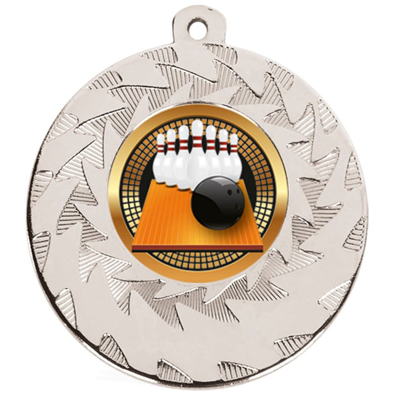 50mm Silver Ball & Pins Bowling Prism Medal