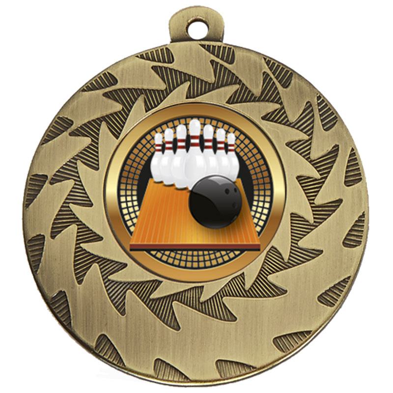50mm Bronze Ball & Pins Bowling Prism Medal