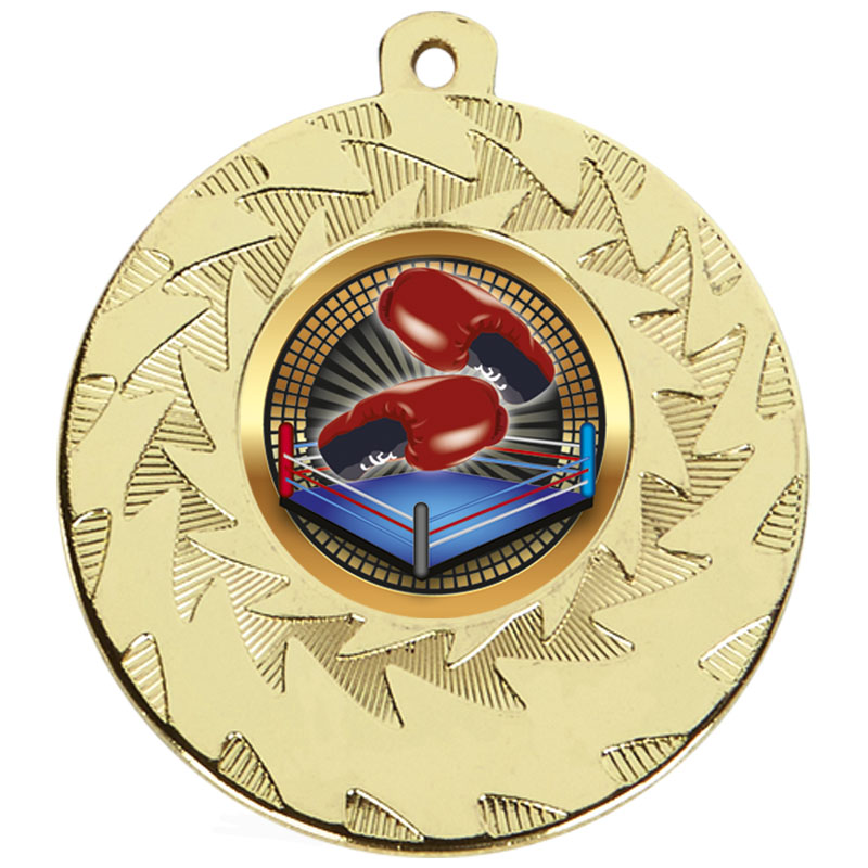 Gold Boxing Prism Cased Medal