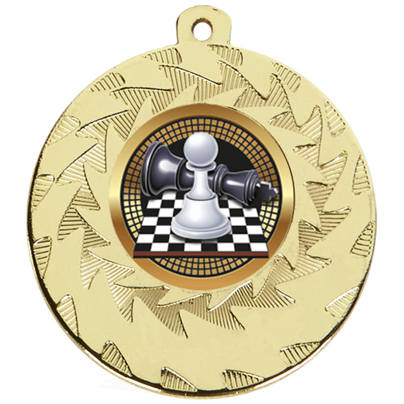 50mm Gold Chess Prism Medal