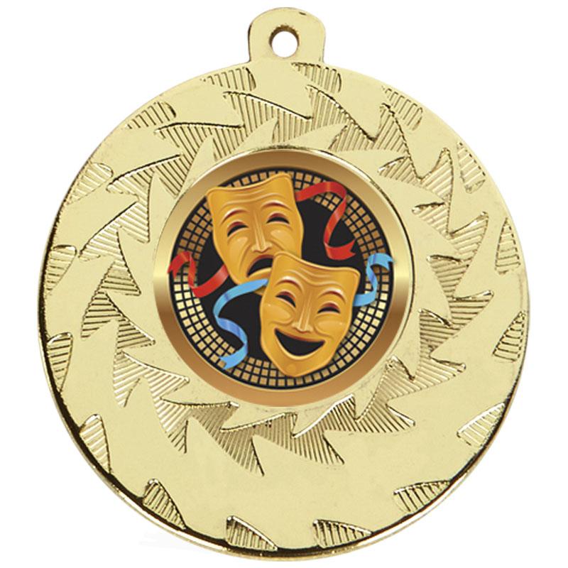 50mm Gold Comedy & Tragedy Drama Prism Medal