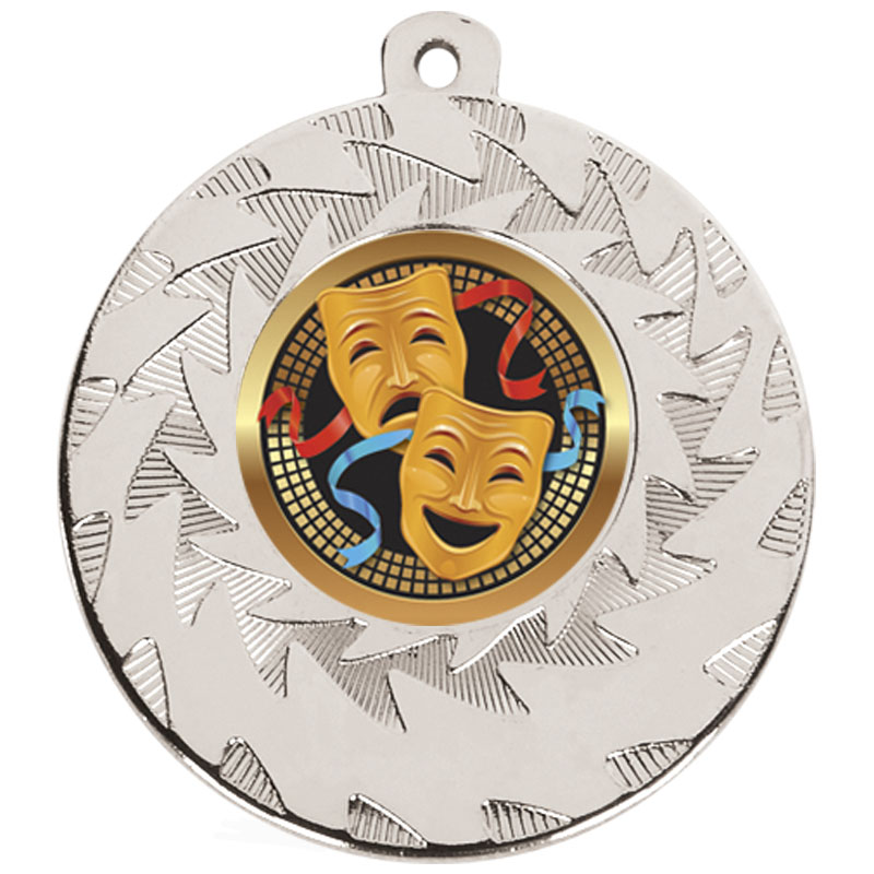 50mm Silver Comedy & Tragedy Drama Prism Medal