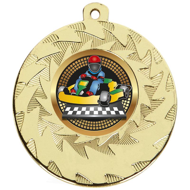 50mm Gold Go Kart Motorsports Prism Medal