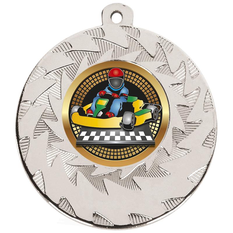 50mm Silver Go Kart Motorsports Prism Medal