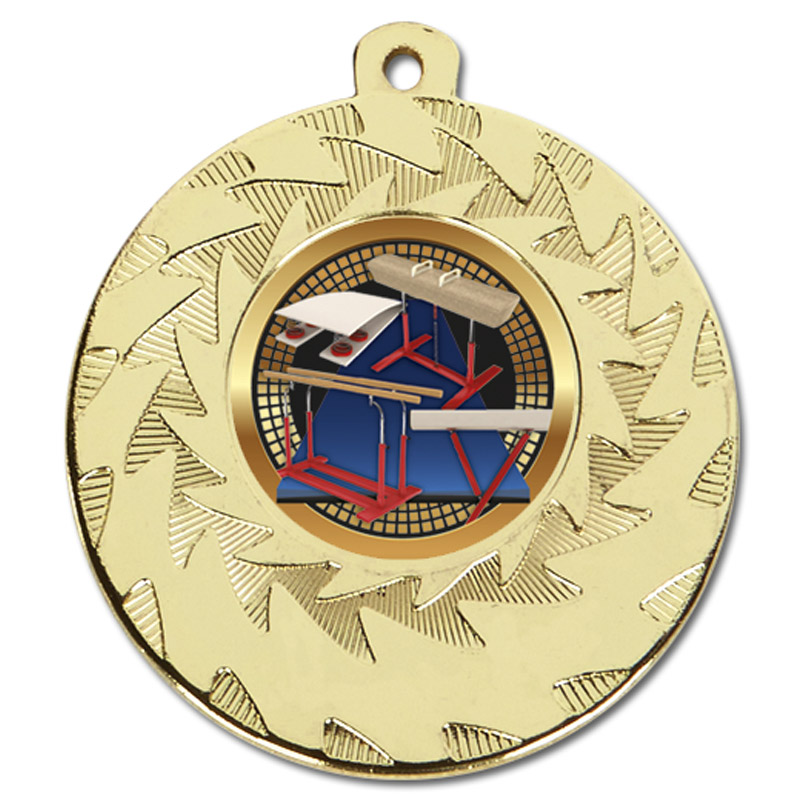 50mm Gold Horse & Bars Gymnastics Prism Medal