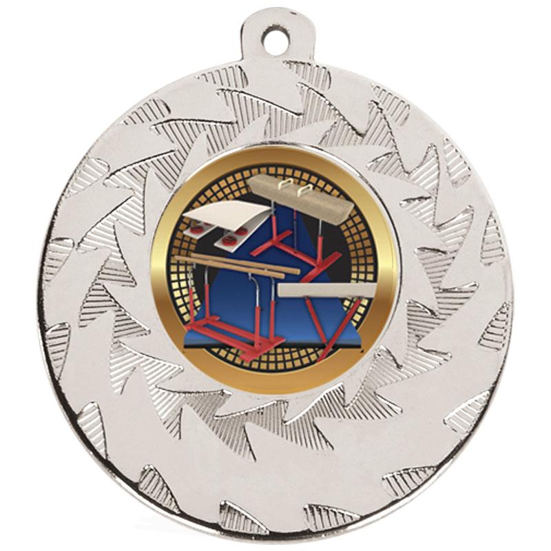 50mm Silver Horse & Bars Gymnastics Prism Medal